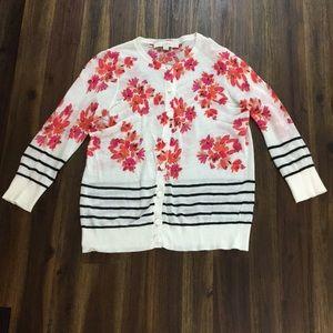 Ann Taylor Loft striped floral mixed cardigan